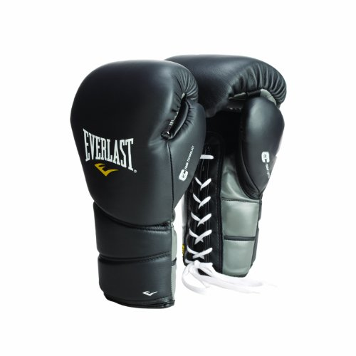Everlast ProTex2 Leather Training Gloves Lace, 14-Ounce, Black