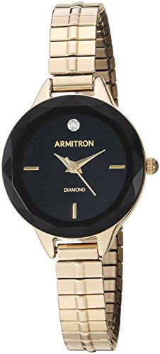 Armitron Women's 75/5596BKGP Diamond-Accented Gold-Tone Expansion Band Watch