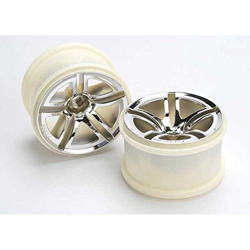 - Traxxas Twin-Spoke Chrome 2.8quot; Wheels Nitro Rear/ Electric Front- TRA5572