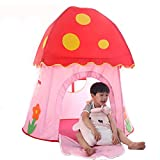 fisca Indoor Play Tent for Kids, Outdoor Pop Up Foldable Playhouse for Baby & Toddler Boys Girls Portable Mushroom Tent with Carry Bag - 43'' x 43'' x 44''