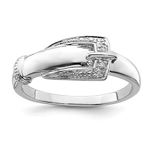 925 Sterling Silver Diamond Buckle Band Ring Size 8.00 Fine Jewelry Gifts For Women For Her