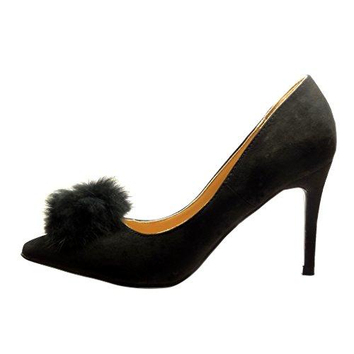 Angkorly - damen Schuhe Pumpe - Stiletto - Sexy - Bommel Stiletto high heel 9.5 CM Schwarz