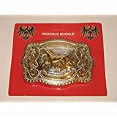 K's Novelties Gold and Silver Horse Stallion Bronco Belt Buckle