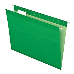 Pendaflex Reinforced Hanging Folders, Letter Size, Bright Green, 25 per Box (4152 1/5 BGR)
