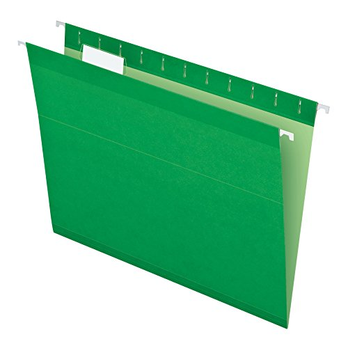Pendaflex Reinforced Hanging Folders, Letter Size, Bright Green, 25 per Box (4152 1/5 BGR) (Green File Folders Letter)
