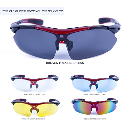 Amazon.com: RIVBOS 806 POLARIZED Sports Sunglasses with 5 Set Interchangeable Lenses for Cycling (Red): Sports & Outdoors