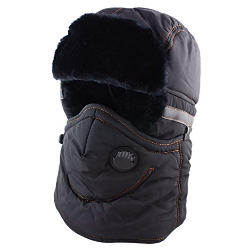 CAMOLAND Winter Trapper Trooper Hat Ushanka with Earflaps Face Mask Windproof Waterproof Ski Hat Men Women,Black,One Size