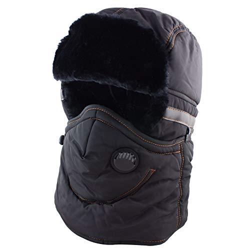 (CAMOLAND Winter Trapper Trooper Hat Ushanka with Earflaps Face Mask Windproof Waterproof Ski Hat Men Women,Black,One Size)