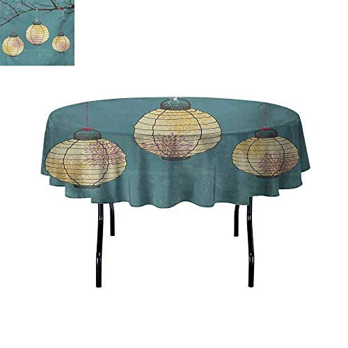 Palm Buffet Table Lamp - GloriaJohnson Lantern+Iron-Free+Anti-fouling+Holiday+Round+Tablecloth+Three+Paper+Lanterns+Hanging+on+Branches+Lighting+Fixture+Source+Lamp+Boho+Table+Decoration+D59+Inch+Teal+Pale+Yellow+
