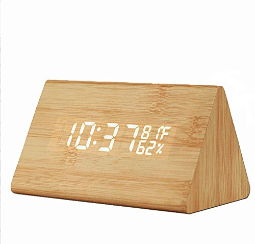funwill Wooden Digital Alarm Clock,Time LED Display,3 Levels Brightness,Temperature and Humidity Intelligent Voice Control Desk Clock for Home,Office,Dorm (Brown)