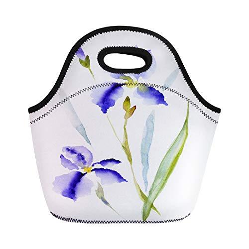 Semtomn Lunch Bags Blue Watercolour Iris Florentina Hand Watercolor Flower White Raster Neoprene Lunch Bag Lunchbox Tote Bag Portable Picnic Bag Cooler Bag