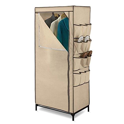 Tan 27-inch Portable Storage Closet Wardrobe with Shoe Organizer by FreeLander