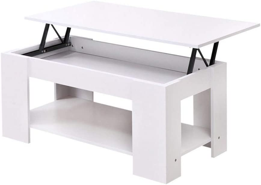 Lift Up Top Coffee Table//Tea Table With Storage /& Shelf For Office Living Room Modern Furniture White bigzzia Coffee Table