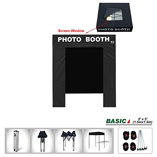 Eurmax Basic 5x5 Pop Up Canopy Tent with Photo Booth Printed On 4 Valances (5 x 5 Flat Top) by Eurmax