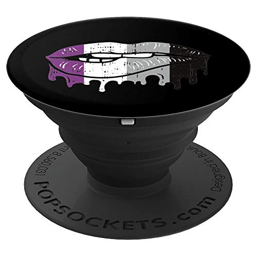 Lip Bite Vintage Drip Art LGBT Asexual Colors Flag Gift - PopSockets Grip and Stand for Phones and Tablets