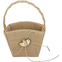 WINOMO Double Heart Wedding Flower Girl Basket with Bowknot