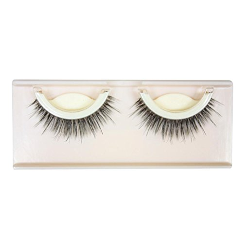 New 1Pair Natural Long Thick Soft Self-Adhesive False Eyelashes Handmade (Black) (D)