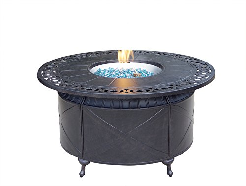 AC HOME & PATIO AC35-QB Round Propane Firepit Chat Table with Fire Glass, 47″, Desert Bronze Finish Review