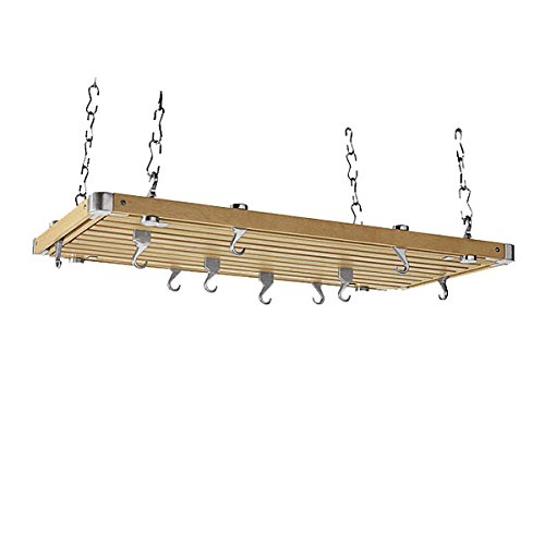 Rectangular Natural Wood Ceiling Kitchen Rack by Concept Housewares