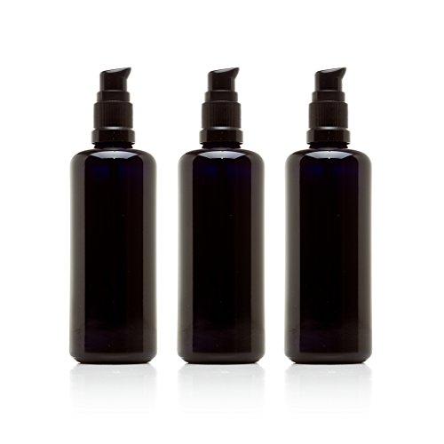 Infinity Jars 100 Ml (3.4 fl oz) Black Ultraviolet Glass Push Pump Bottle 3-Pack
