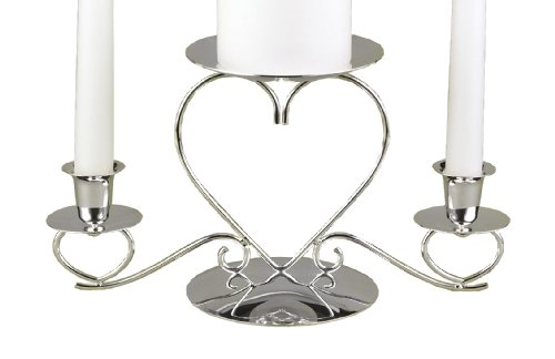 Hortense B. Hewitt Wedding Accessories, Unity Candle Stand, Triple Heart, Silver, 10.5-Inches x 5.5-Inches (Silver Heart Stand)