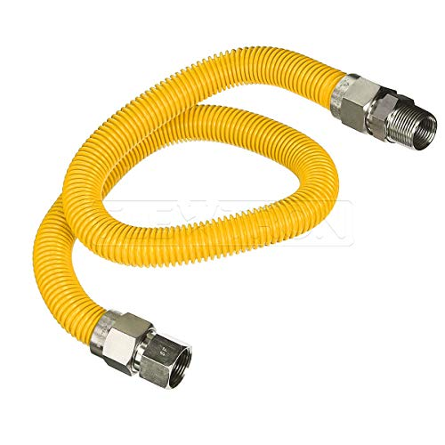 Flextron FTGC-YC12-48P 48 Inch Flexible Epoxy Coated Gas Line Connector with 5/8 Inch Outer Diameter & 3/4 Inch FIP x 3/4 Inch MIP Fittings, Yellow/Stainless Steel, Excellent Corrosion Resistance ()
