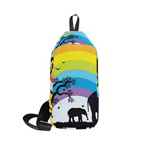 Animal Bags One Bennigiry Crossbody Sling African Sunset Backpack For Elephant Women Chest Bag Shoulder Men amp; 5XXS0f