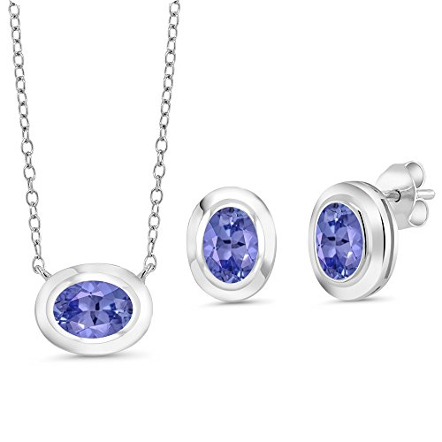 Gem Stone King 2.25 Ct Oval Blue Tanzanite 925 Sterling Silver Pendant Earrings Set With Chain
