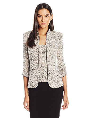 - Alex Evenings Women's Printed Mandarin Neck Twinset Tank and Jacket, Beige, S