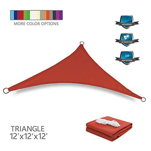 Tuosite Terylene Waterproof Sun Shade Sail UV Blocker Sunshade Patio Equilateral Triangle Knitted 220 GSM Block Fabric Pergola Carport Awning 12' x 12' x 12' in Color Iron Red
