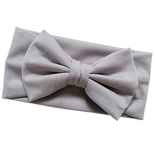 (Shuohu Baby Solid Candy Color Bowknot Stretch Headband Hair Band - Light Grey)