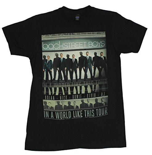 Backstreet Boys Mens T-Shirt – World Like This Tour Lined Repeated Images (Small) Black