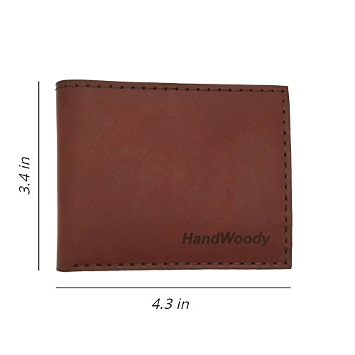 HandWoody light brown handmade leather bifold genuine Wallet year warranty for men natural 100 zWFnqrz