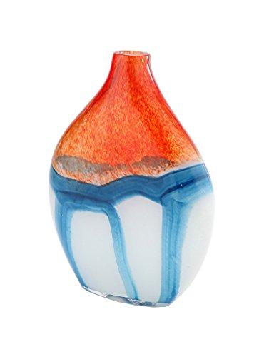 lass Murano Art Style Vase Bottle Orange Blue White Italian ()