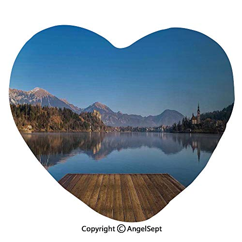 Heart Shape Cushion Pillow Old Deck by the River with Mountains Landscape Fall in a Village Rural Scenic Print Home Couch Bed Living Room Office Chair Car Decor Travel Lover Girl Gift 17.7 x 19.7 Inc