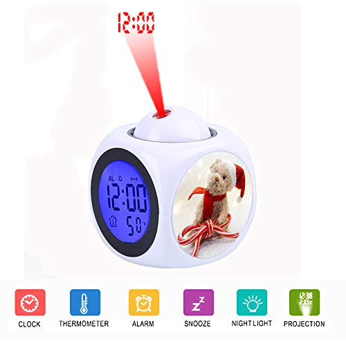 LCD Digital LED Display Projection Alarm Clock Talking with Voice Thermometer Function Desktop Brown Bear Plush Toy with Bow Candy
