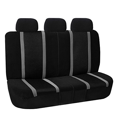 FH GROUP FH-FB070013 Sports Fabric Split Bench Car Seat Cover (40/60 split, 40/20/40 split and 50/50 split), Gray / Black- Fit Most Car, Truck, Suv, or (40 Split Rear Seat Covers)