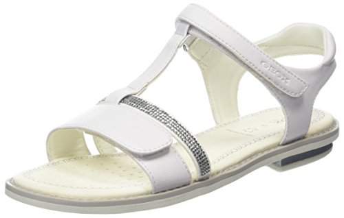Geox Girls' Jr Giglio B T-Bar Sandals White (White C1000)