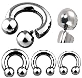 0G Internally Threaded Surgical Steel Horseshoe Ball - 1/2 - Sold as a Pair