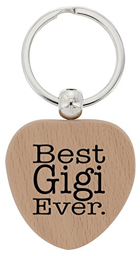 ThisWear Gigi Best Gigi Ever Wood Heart Keychain Key Tag Gigi Gifts