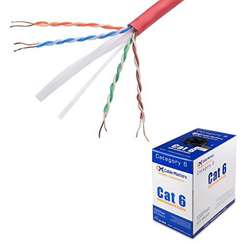 Cable Matters UL Listed in-Wall Rated (cm) Bare Copper Cat 6, Cat6 Bulk Cable (Cat6 Ethernet Cable 1000 Feet) in Red