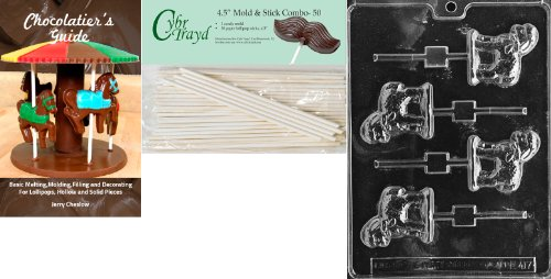 Cybrtrayd 45St50Bk-E417 'Lamb Lolly' Easter Chocolate Candy Mold with 50 4.5-Inch Lollipop Sticks and Chocolatier's Guide
