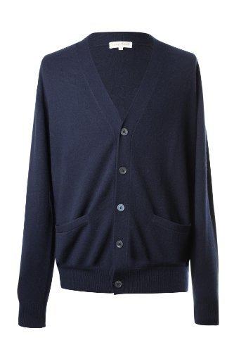 Lona Scott Men's Pure Cashmere Cardigan Plain 48 XXXL (Scott V-neck Cardigan)