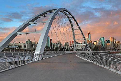 Edmonton, Alberta, Canada - Waterdale Bridge & Skyline at Sunset 9006463 (24x16 Gallery Quality Metal Art) (Art Edmonton Metal Wall)