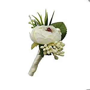 6 Pieces/lot Groom Boutonniere Man Buttonholes Wedding Flowers Party Decoration (Ivory) 2