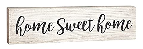 Home Sweet Home Script Design White Wash 2 x 6 Inch Solid Pine Wood Paul Bunyan Toothpick Sign (Home & Garden)
