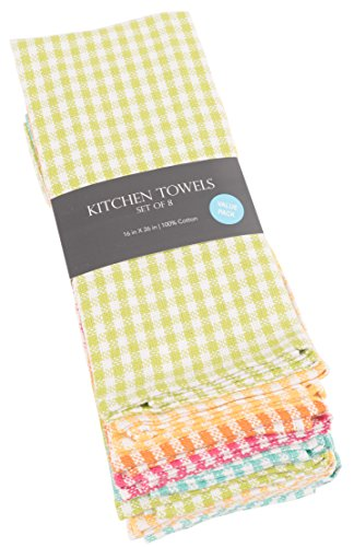 KAF Home Gingham Check Kitchen Towels | Set of 8, 100% Pure Cotton, 16'' x 26'' Kitchen Towels | Absorbent, Soft, Fun, and Beautiful Kitchen Towels | Perfect for Barbecuing and Grilling (Brights) by KAF Home (Image #1)