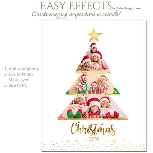 (lagifi Photoshop Templates | Photography Posters | Easy Effects | Christmas Tree - (2) Vertical Layouts - 8x10 & 16x20 .PSD Files. Frame)