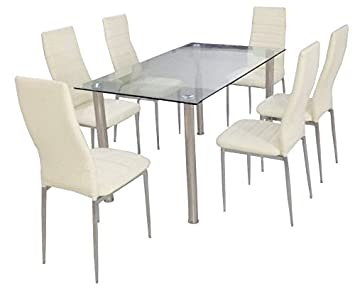 YAKOE Glass Square Dining Room Table Set And 6 Chairs Chrome Legs Finish Faux Leather Cream Amazoncouk Kitchen Home