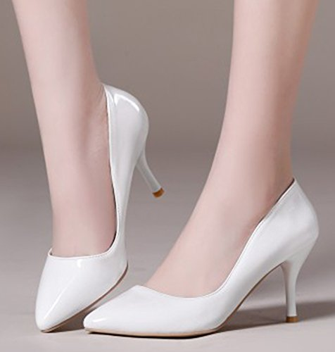 Aisun Donna Semplice Brunito Dressy Taglio Basso Punta A Punta Stiletto Tacco Alto Da Indossare A Lavoro Slip On Pumps Shoes Bianco